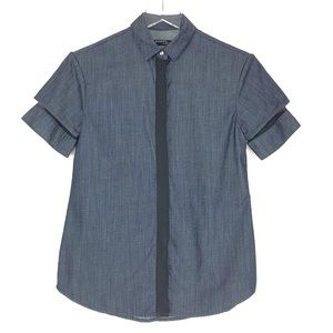 All Saints   Short sleeves denim button down shirt